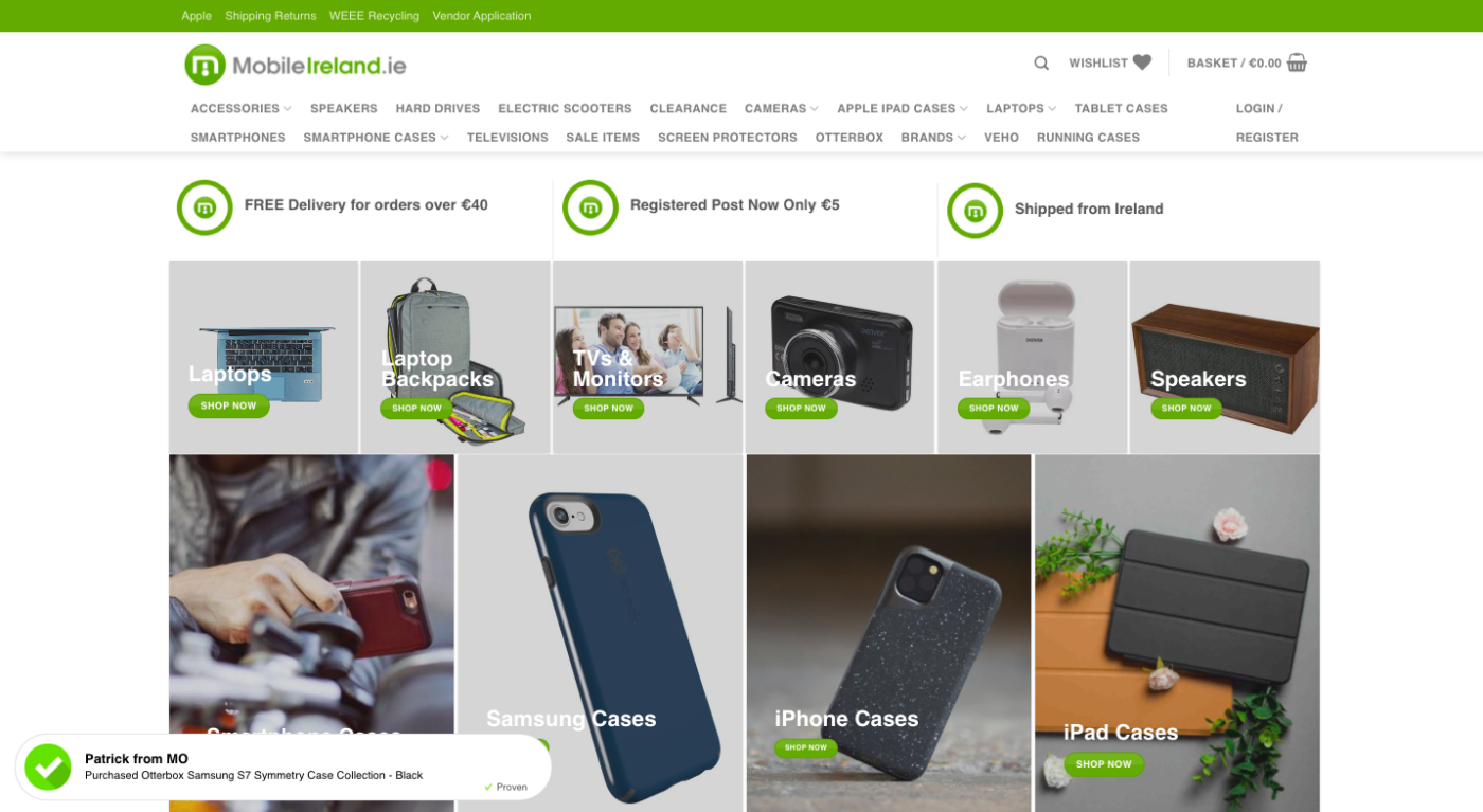 smartphone accessories website design dublin